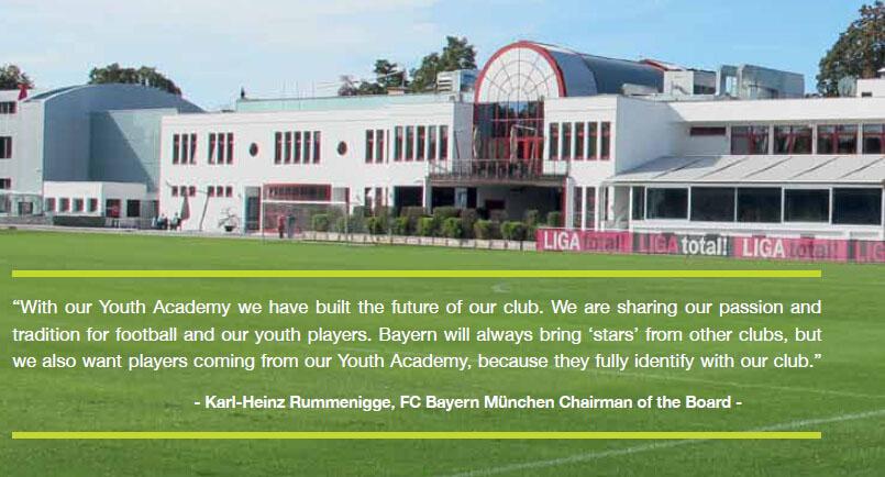 """""""青年队代表着俱乐部的未来,我们与年轻球员分享我们的传统和激情,拜仁永远是俱乐部中的明星,我们希望自己的青训队员走进一队,因为他们最能代表拜仁俱乐部的精神。""""——鲁梅尼格"""