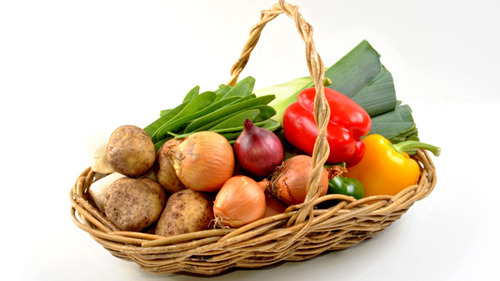 Organic fresh vegetable in a basket