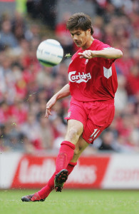 LIVERPOOL, ENGLAND - SEPTEMBER 11:  Xabi Alonso of Liverpool in action during the FA Barclays Premiership match between Liverpool and West Bromwich Albion at Anfield on September 11, 2004 in Liverpool, England.  (Photo by Laurence Griffiths/Getty Images)